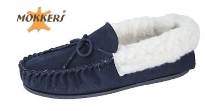 Ladies Real Suede Leather Moccasin Wool Lining  Hard-wearing Sole  NAVY